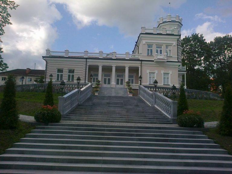 Valymo paslaugos atlikto Druskininkų miesto muziejuje. Po remonto išvalyti langai su aukštomis kopėčiomis.